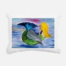 Playful Mermaid  Dolphin Rectangular Canvas Pillow
