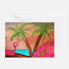 Flamingo in paradise Greeting Card