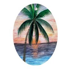 Sunset Palm Oval Ornament