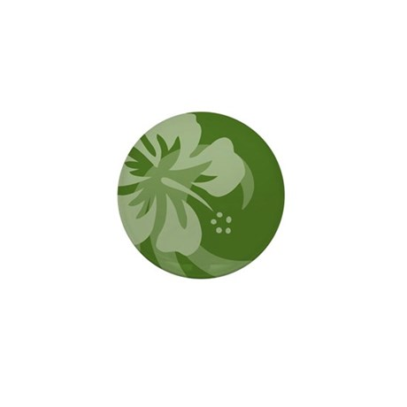 Hibiscus Dark Green Round Pet Tag Mini Button