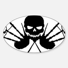 Skull and Pipes Sticker (Oval)