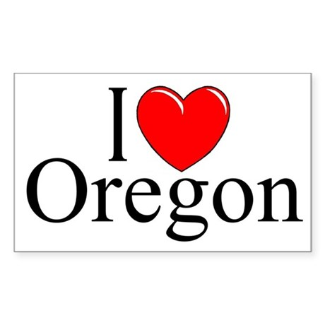 """I Love Oregon"" Rectangle Sticker"