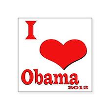 "I Love Obama Square Sticker 3"" x 3"""