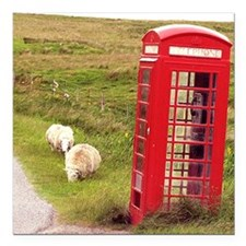"""Vintage Phone Booth Square Car Magnet 3"""" x 3"""""""
