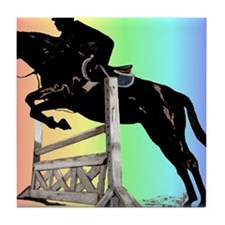 Rainbow Jumping Horse Tile Coaster