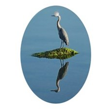 Heron Reflection Oval Ornament