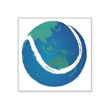"world tennis ball globe Square Sticker 3"" x 3"""