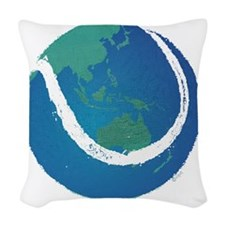 world tennis ball globe Woven Throw Pillow