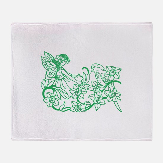 Fairy with Parrot Throw Blanket