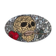 Mosaic Skull and Rose Oval Car Magnet
