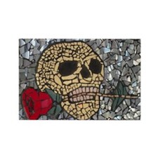 Mosaic Skull and Rose Rectangle Magnet