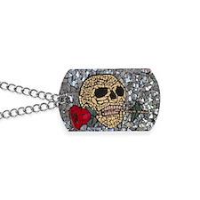Mosaic Skull and Rose Dog Tags