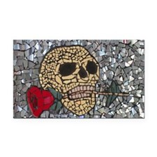 Mosaic Skull and Rose Rectangle Car Magnet