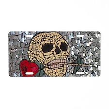 Mosaic Skull and Rose Aluminum License Plate