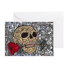 Mosaic Skull and Rose Greeting Card