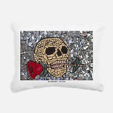 Mosaic Skull and Rose Rectangular Canvas Pillow