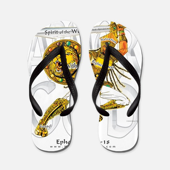 Whole Armor of God--Silver Flip Flops