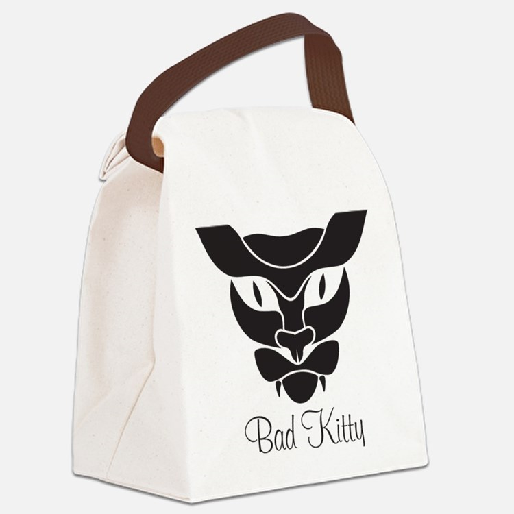 Bad Kitty Black Canvas Lunch Bag