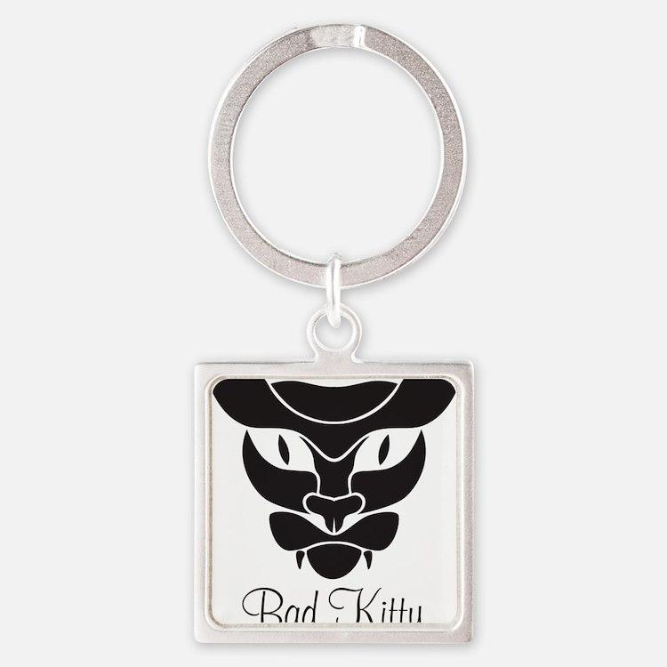 Bad Kitty Black Square Keychain