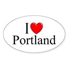 """I Love Portland"" Oval Decal"