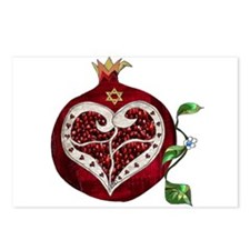 Judaica Pomegranate Heart Postcards (Package of 8)