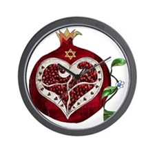 Judaica Pomegranate Heart Wall Clock