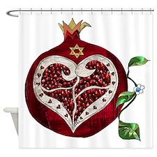 Judaica Pomegranate Heart Shower Curtain