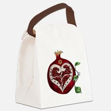 Judaica Pomegranate Heart Canvas Lunch Bag