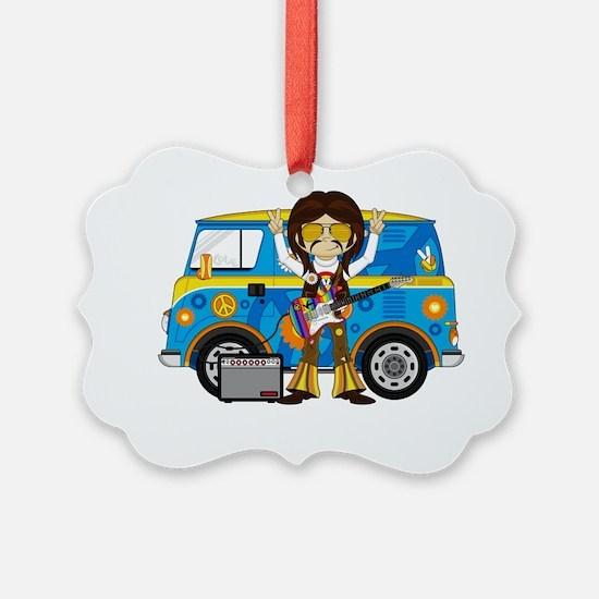 Hippie Boy and Camper Van Ornament