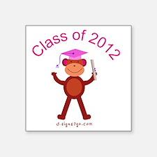 "2012 Graduation - Pink Square Sticker 3"" x 3"""