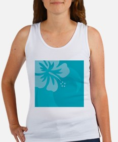 Hibiscus Light Blue Wine Label Women's Tank Top