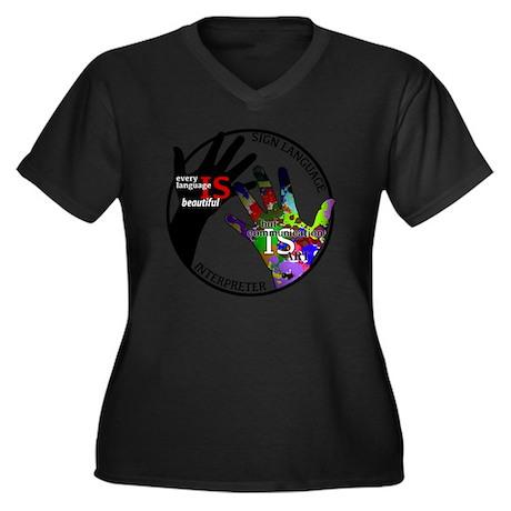Communicatio Women's Plus Size Dark V-Neck T-Shirt