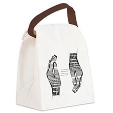 Communication hands BW Canvas Lunch Bag