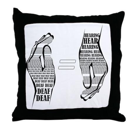 Communication hands BW Throw Pillow