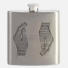 Communication hands BW Flask