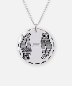 Communication hands BW Necklace