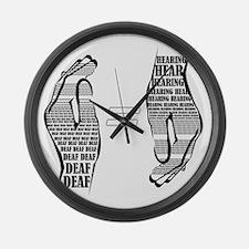 Communication hands BW Large Wall Clock