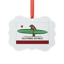 California Surfing Bear Longboard Ornament