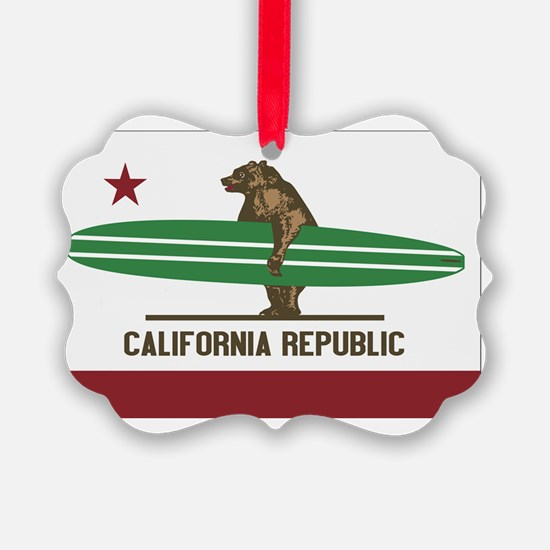 California Surfing Bear Longboard Ornament