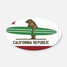 California Surfing Bear Longboard  Oval Car Magnet