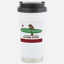 California Surfing Bear Longboa Travel Mug