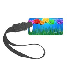Poppies in a Row On Blue Luggage Tag