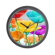 Growing Poppies Red Wall Clock