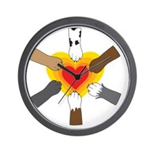 Paws and Heart Wall Clock