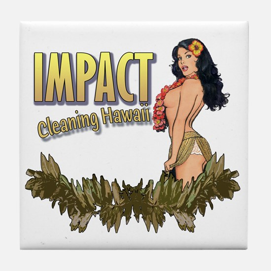 Impact Cleaning Hawaii Hula Girl Tile Coaster