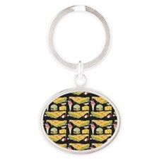 Food Collage, Oval Keychain