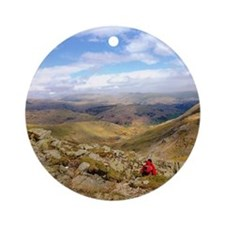 Looking down across the Langdales Round Ornament