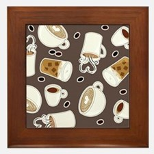 For the Love of Coffee Pattern Gray Framed Tile