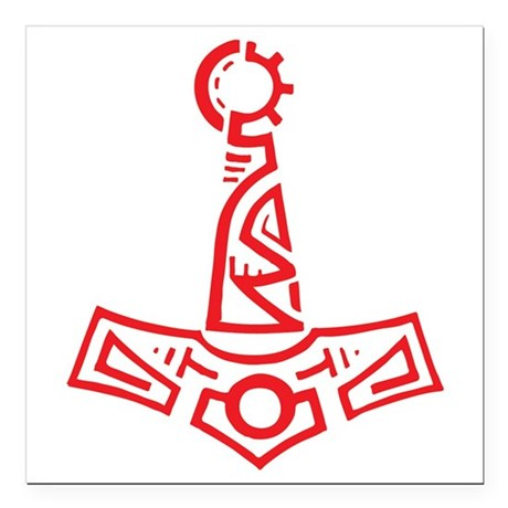 """Red Cyber Thors Hammer Square Car Magnet 3"""" x 3"""""""
