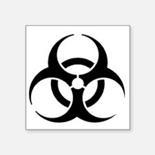 "Black Biohazard Square Sticker 3"" x 3"""
